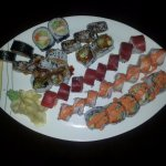 A variety of the Sushi Rolls and other items.