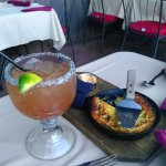 Prickly pear margarita - huge, delish. Amazing cornbread with chipotle honey butter.