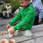 Hot chocolate at camp after harvesting some glacier ice.