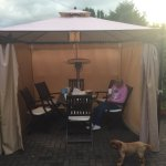 The outside heated gazebo brilliant if you have a dog and weather isn't great