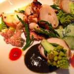 Grilled octopus with sea beans and ink
