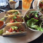 """3 Chicken Tacos with side salad on """"light"""" menu, excellent"""