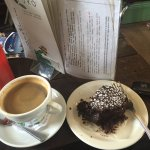 Americano and a vegan brownie.. delicious