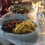 Kalogria salad & liver & onions