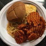 Macaroni and Cheese Burger with Sweet Potato Waffle Fries