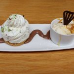 Aero Mint cheesecake with honeycomb ice cream
