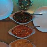 """Tikka masala (""""very sweet""""), spinach chicken (sag), almond coconut chicken (""""also sweet"""")."""