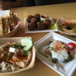 Hummus, Pita, Falafel, Baba Ganoush, Grape Leaves