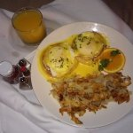 eggs benedict, room service. Not on their menu, but you can ask for it.