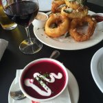 Onion rings & beet soup