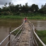 The bamboo bridge near the rest of the hotel. You need to pay a little money to cross the bridge