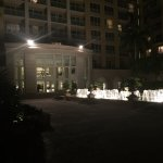 Nighttime view of the hotel interior