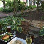Appetizers in Courtyard- Drunken mushrooms & Tavern Pretzels