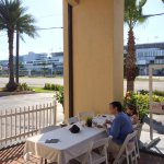 Breakfast outside looking across the street at the Daytona Intnational Speedway
