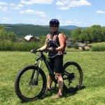 my wife MTN biking on Heavens Bench trail.
