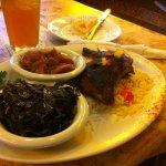 jerk chickenwith rice, collards, and yams