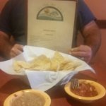 Dinner with my hubby. You get refried beans with your salsa and chips. The service was great, an