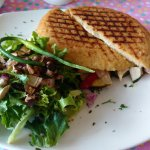 Greek Chicken Panini with salad