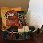 A photo of the sweet gift basket we received from the staff for our honeymoon!