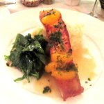 Maple Glaze Salmon with Garlic Mashed and Spinach, Stanley's Steakhouse, Jackson, CA