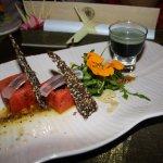 watermelon, aloe vera, seed cracker and tonic shot