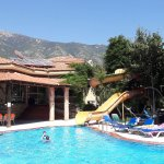 Pool and slide at seyir village hotel