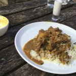 Beautiful Lamb Curry with Rice, Naan and Sweet Lassi
