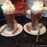Delicious luxury hot chocolates🍫☕️ with cream, marshmallows and a flake 👌
