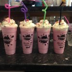 strawberry milkshakes with cream and toppings