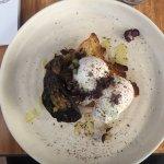 Poached eggs on gluten free toast with garlic roast mushrooms