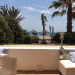 View to beach from hotel beach bar