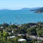 Lovely view from our second floor balcony towards the main harbour off Airlie Beach (zoomed in v