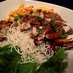 Chicken Teriyaki bowl with rice noodles, mango salsa