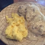 Biscuits and gravy with eggs