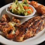 Duo Platter w/Blackened Catfish, Lemon Pepper Grilled Shrimp, Steamed Vegetables and Hushpuppies