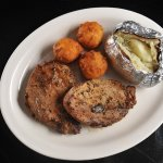 Grilled Pork Loin with Baked Potato and Hushpuppies