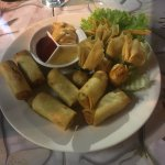 Starting sharing platter for two. Spring rolls, shrimp rolls and balls.