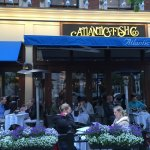 Their entrance and patio on the nice Boylston Street.