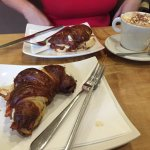 Delicious bacon & cheese german croissant