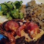 Filet, stuffed shrimp, risotto, broccoli