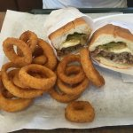 Philly with onion rings! House sauce for onion rings is great!