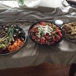 Antipasto Platter, Tomato Platter and FRESH BAKED FOCCACIA