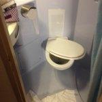 detached toilet seat in bathroom