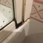 Mould around the shower glass cover. Water was leaking trough here to the rest of the bathroom f