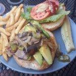 Chicken sandwich with the works
