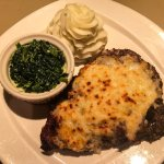 Gluten free Ribeye with Parmesan topping, creamed spinach and garlic mashed potatoes.