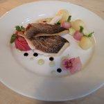 Sea bream with Jersey Royal, glazed radish and avocado muosse