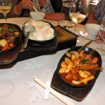 Main Courses - Sizzling Beef in Black Bean Sauce , Prawns with Chilli Sauce. and Mongolian Chick