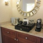 In-room coffee/tea service, bottled water