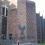 New cathedral, with famous Jacob Epstein sculpture of St. Michael subduing the devil